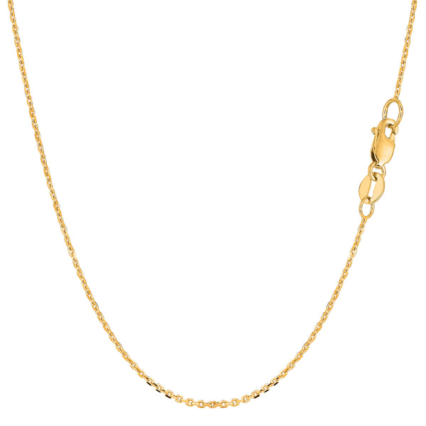 10k Yellow Gold Cable Link Chain Necklace, 1.1mm