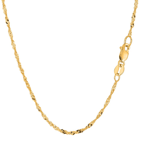 14k Yellow Gold Singapore Chain Bracelet, 1.7mm, 7""