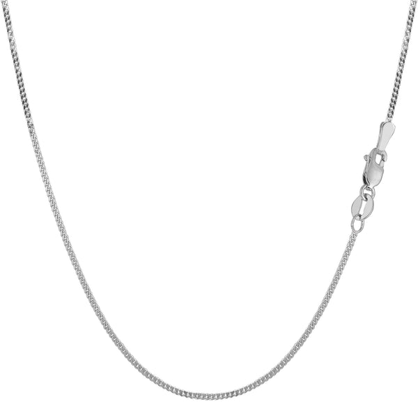 10k White Gold Gourmette Chain Necklace, 1.0mm