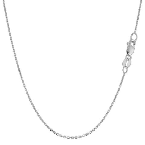 10k White Gold Cable Link Chain Necklace, 1.1mm