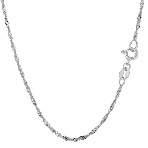 10k White Gold Singapore Chain Necklace, 1.7mm