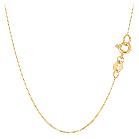 10k Yellow Gold Classic Mirror Box Chain Necklace, 0.6mm - JewelryAffairs  - 1