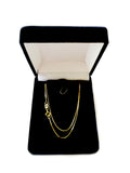 10k Yellow Solid Gold Mirror Box Chain Necklace, 0.6mm