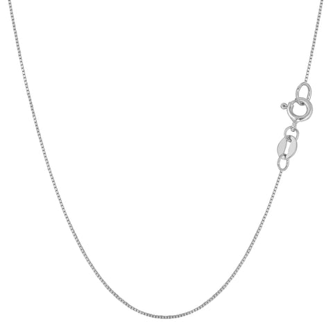 10k White Solid Gold Mirror Box Chain Necklace, 0.6mm