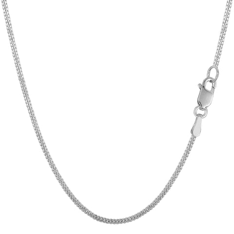 10k White Gold Gourmette Chain Necklace, 1.5mm