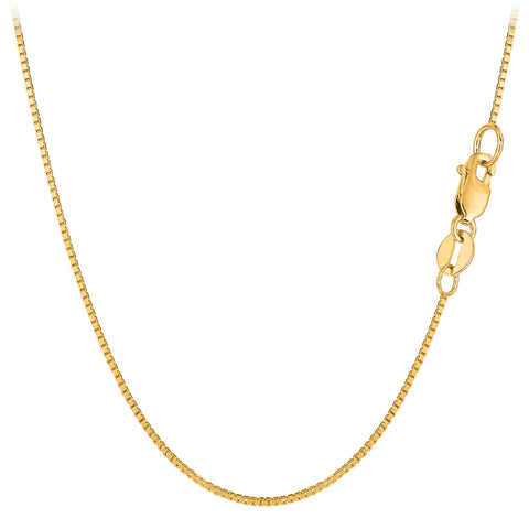 10k Yellow Solid Gold Mirror Box Chain Necklace, 0.8mm
