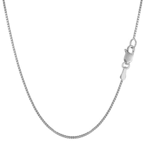 10k White Gold Classic Mirror Box Chain Necklace, 0.8mm