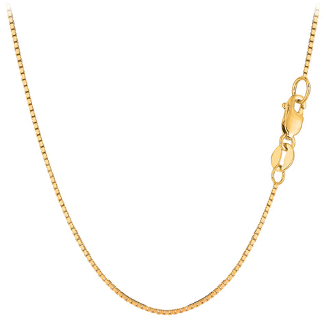 10k Yellow Gold Classic Mirror Box Chain Necklace, 1.0mm - JewelryAffairs  - 1