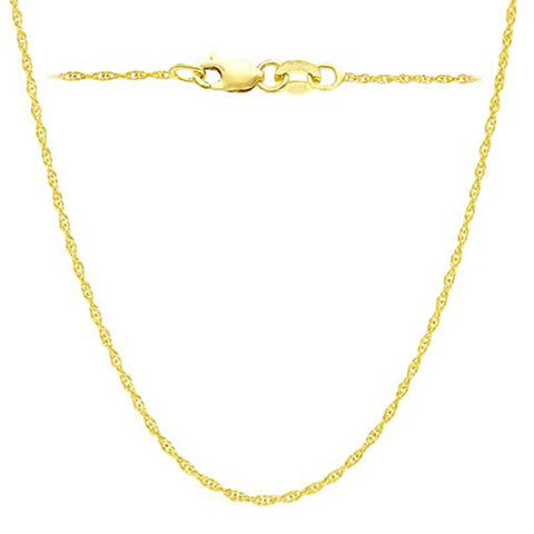 14k Yellow Gold Rope Chain Necklace, 0.8mm, 18""
