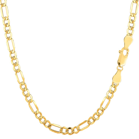 10k Yellow Gold Hollow Figaro Bracelet Chain, 3.5mm