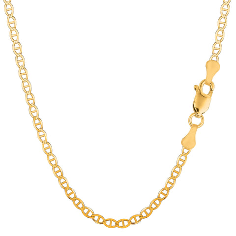 14K Yellow Gold Filled Solid Mariner Chain Necklace, 3.2mm Wide
