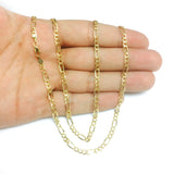 10k Yellow Solid Gold Figaro Chain Necklace, 3.0mm