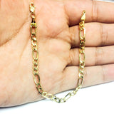 10k Yellow Gold Hollow Figaro Bracelet Chain, 4.6mm, 7""