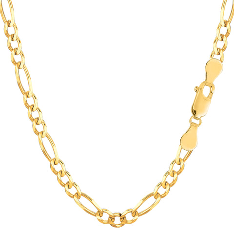 10k Yellow Solid Gold Figaro Chain Bracelet, 4.0mm, 8""