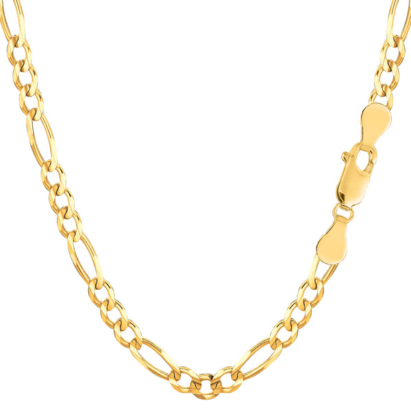 10k Yellow Solid Gold Figaro Chain Necklace, 4.0mm