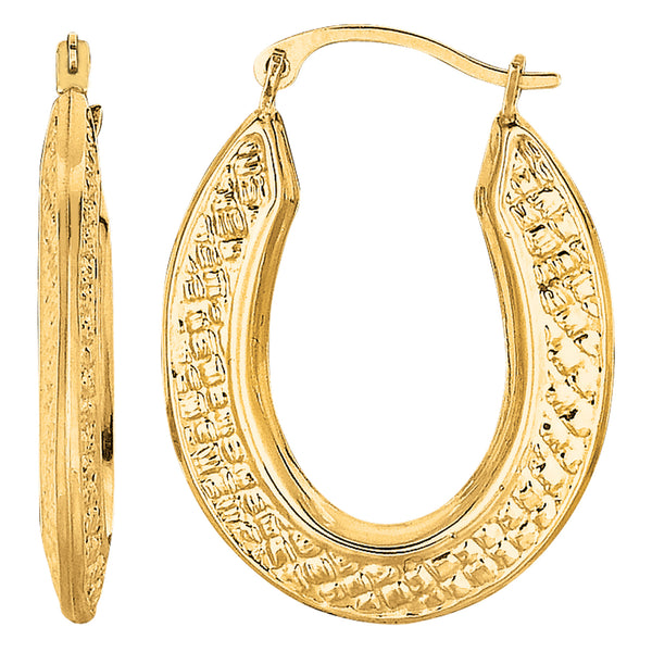 10k Yellow Gold Weave Texture Design Oval Shape Hoop Earrings