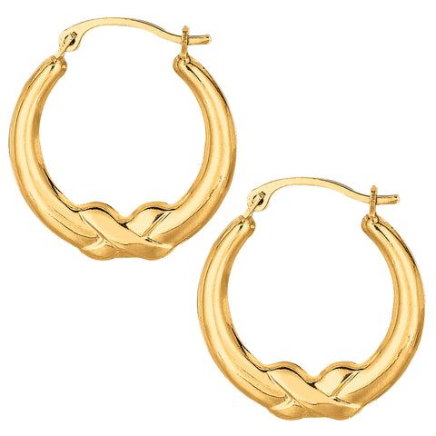 10k Yellow Gold X Design Round Shape Hoop Earrings, Diameter 20mm