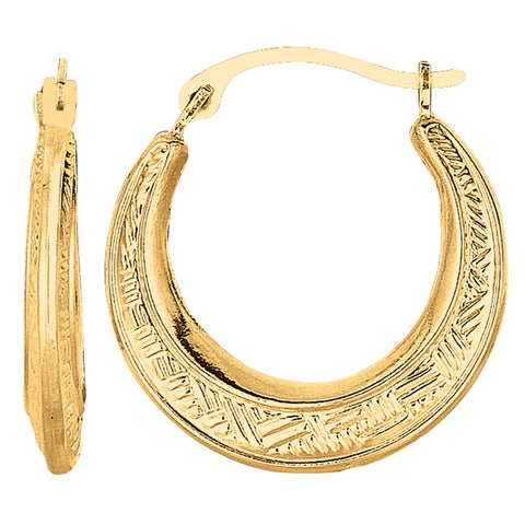 10k Yellow Gold Weave Texture Design Round Shape Hoop Earrings, Diameter 20mm
