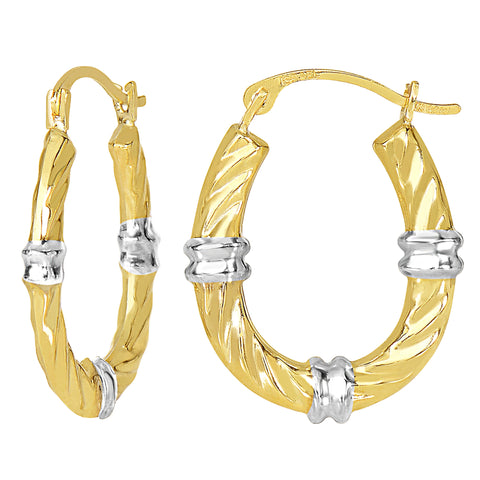 10k 2 Tone White And Yellow Gold Swirl Texture Oval Hoop Earrings, Diameter 20mm - JewelryAffairs  - 1