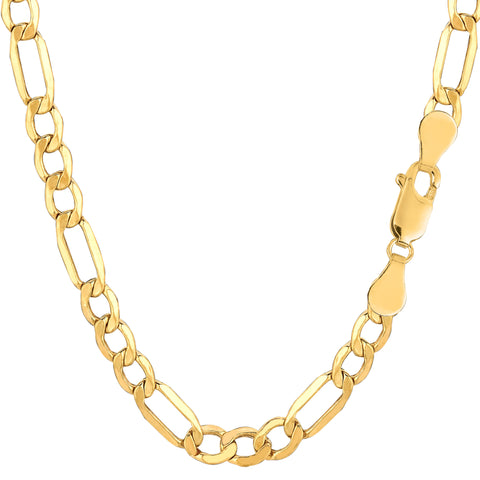 10k Yellow Gold Hollow Figaro Bracelet Chain, 5.4mm, 8.5""
