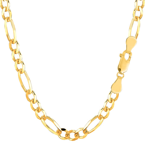 10k Yellow Gold Solid Figaro Chain Bracelet, 5.0mm
