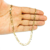10k Yellow Solid Gold Figaro Chain Necklace, 5.0mm
