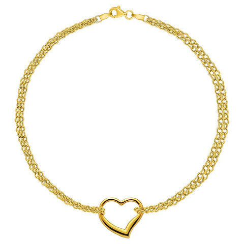 10K Yellow Gold Double Strand With Heart Anklet, 10""