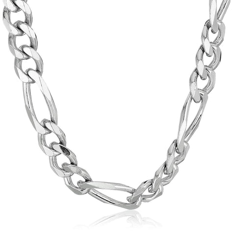 Sterling Silver Rhodium Plated Figaro Chain Necklace, 11.5mm, 24""