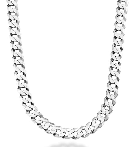 Sterling Silver Rhodium Plated Curb Chain Necklace, 11.5mm, 24""