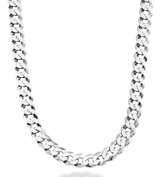 Sterling Silver Rhodium Plated Curb Chain Necklace, 13.5mm, 24""
