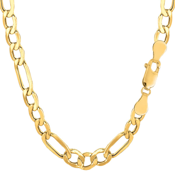 10k Yellow Gold Hollow Figaro Bracelet Chain, 6.5mm, 8.5""