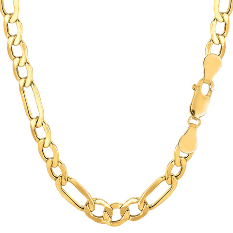 10k Yellow Gold Hollow Figaro Chain Necklace, 6.5mm - JewelryAffairs  - 1