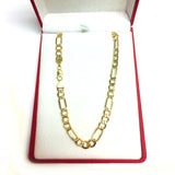 10k Yellow Gold Hollow Figaro Chain Necklace, 6.5mm