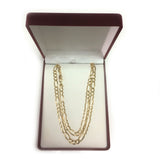 10k Yellow Solid Gold Figaro Chain Necklace, 6.0mm