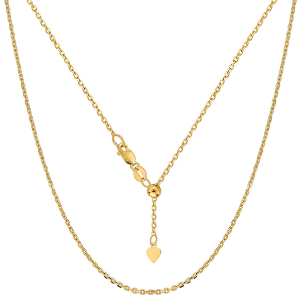 "10k Yellow Gold Adjustable Cable Link Chain Necklace, 0.9mm, 22"" - JewelryAffairs  - 1"