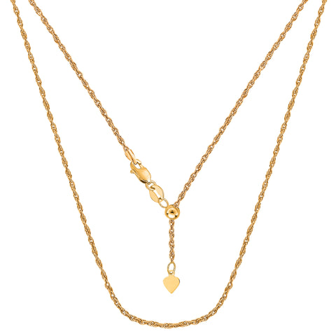 10k Yellow Gold Adjustable Rope Link Chain Necklace, 1.0mm, 22""