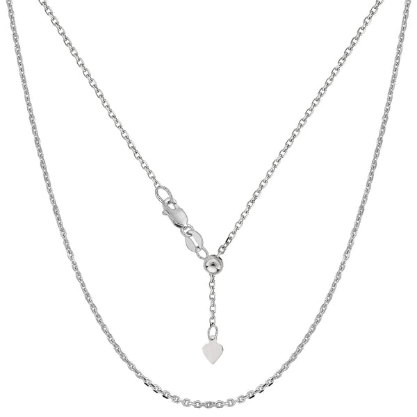 "10k White Gold Adjustable Cable Link Chain Necklace, 0.9mm, 22"" - JewelryAffairs  - 1"