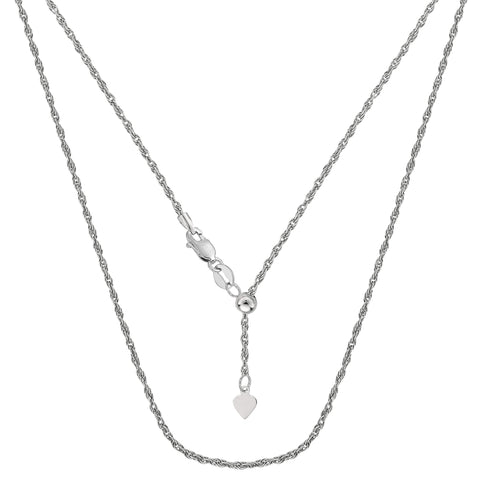 10k White Gold Adjustable Rope Link Chain Necklace, 1.0mm, 22""