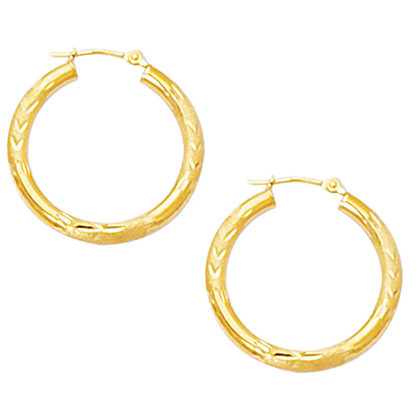 10k Yellow Gold Diamond Cut Design Round Shape Hoop Earrings, Diameter 25mm