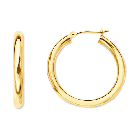 10k Yellow Gold 2mm Shiny Round Tube Hoop Earrings