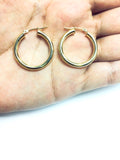 10k Yellow Gold 3mm Shiny Round Tube Hoop Earrings