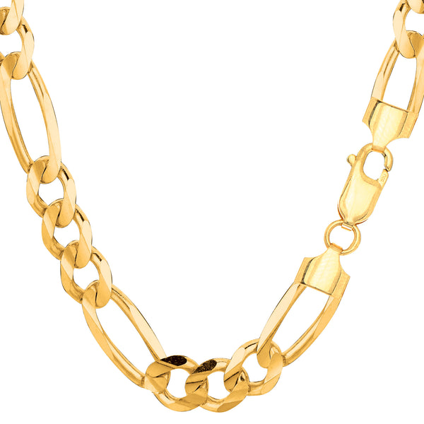 10k Yellow Solid Gold Figaro Chain Necklace, 8.3mm