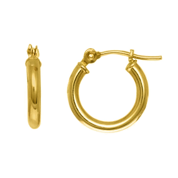10k Yellow Gold Round Shape Hoop Earrings, Diameter 10mm