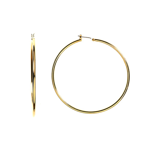 10k Yellow Gold 1.5mm Shiny Round Tube Hoop Earrings - JewelryAffairs  - 1