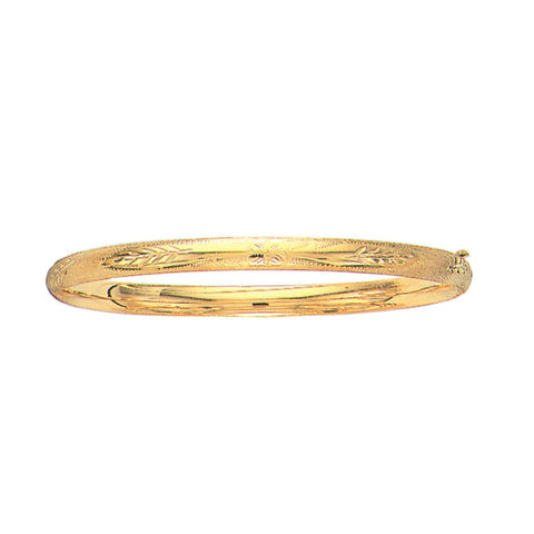 10k Yellow Gold High Polished Dome Florentine Bangle Bracelet, 7""
