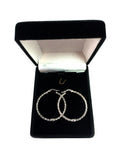 10k White Gold Shiny Mesh Round Hoop Earrings, Diameter 30mm