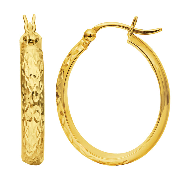 10k Gold Shiny Diamond Cut Oval Shape Hoop Earrings