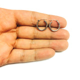10k White Gold 2mm Shiny Round Tube Hoop Earrings