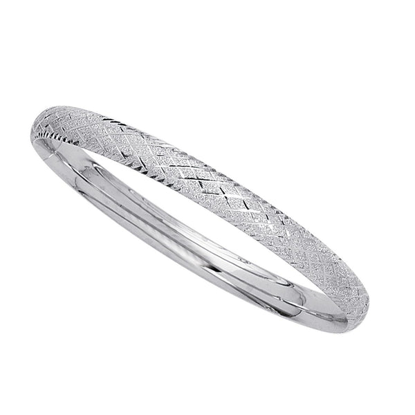 14k White Gold Sparkle And Diamond Shape Pattern Bangle Bracelet, 7""