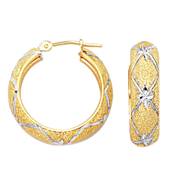 10k 2 Tone White And Yellow Gold Diamond Cut Textured Round Hoop Earrings, Diameter  22mm
